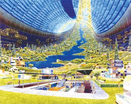 """未来主义者杰勒德·奥尼尔提出的""""太空城""""的内部想象图.jpg"""
