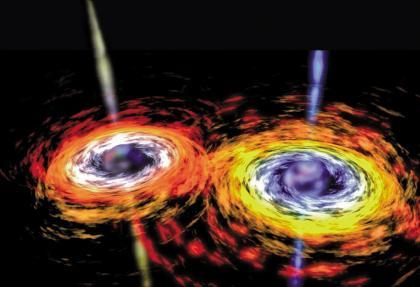 黑洞与黑洞相遇的想象图,科学家认为这个过程会产生引力波.jpg