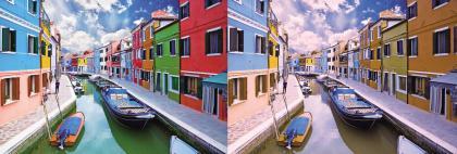 这是威尼斯一处街景,正常人看到的是左图,红绿色盲看到的是右图,但借助色盲眼镜,色盲也能达到如左图的效果.jpg