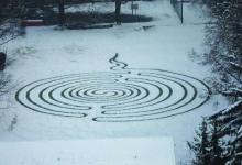 """麦田怪圈在雪地里""""撒野"""""""